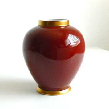 Fitz & Floyd Renaissance Vase Vintage Porcelain Rust Red Jar Handpainted Gold Trim