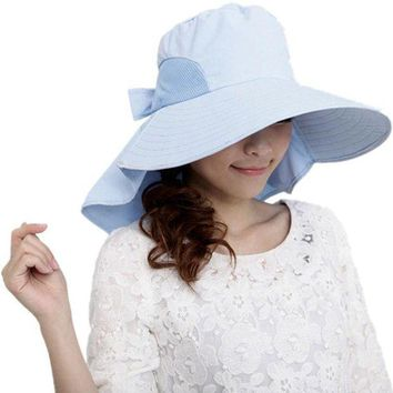 PEAP78W Sali 2017 new hot sale  For Women Lady With Wide Brim Fashion Women Brim Bow Hat Foldable Sun Floppy Self-tie Summer Beach Cap