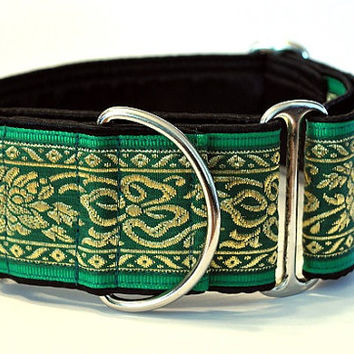 Martingale Collar: Emerald and Gold Shamrock (2 Inch), Greyhound Collar, Whippet Collar, Custom Dog Collar, Custom Martingale
