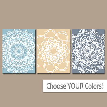 Blue Tan Almond Wall Art, Mandala Artwork, Bedroom Pictures, Bathroom Artwork, Set of 3 Home Decor, Canvas or Prints, Medallion