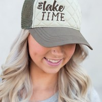 On Lake Time Quilted Trucker Hat