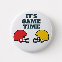 It's Game Time Football Helmet Button