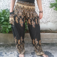 Black Paisley Print Trousers Yoga Pants Hippie Baggy Boho chic Fashion Style Clothing Rayon Gypsy Tribal Clothes Beach Summer pattern