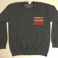Unisex Custom Patch Pocket Crew Neck Sweatshirt- Red Striped Navajo Print from EEHCUOY