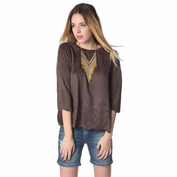 Brown suede top with laser cut outs