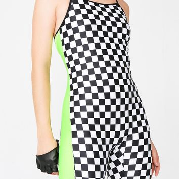 Checkerboard Green Unitard
