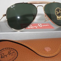RAY BAN New Sunglasses Outdoorsman Gold Green G-15 RB3030 L0216 58 14 160
