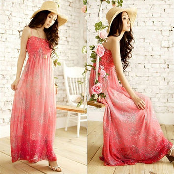 Bohemina Summer Dress 2017 New Womens Strapless Floarl Chiffon Beach Maxi Long Dresses Lady Spaghett