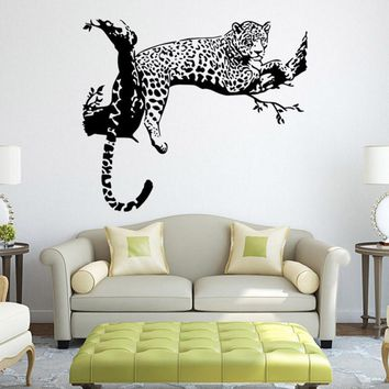 Super Deal 2016 Leopard Wall Stickers Living Room Bedroom Decoration Removable Poster  XT