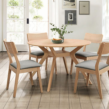 "Home Elegance HE-5576RD-5PC 5 pc Hamar natural finish wood mid century modern 48"" round dining table set"