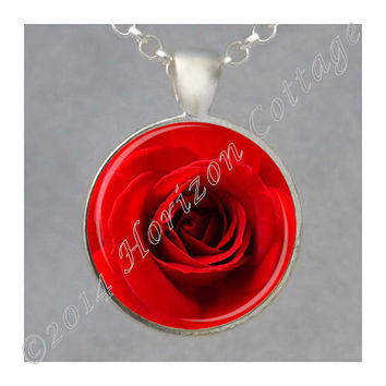 Red Rose  - Bright Red - Art Photo Pendant - Your Choice of Finish