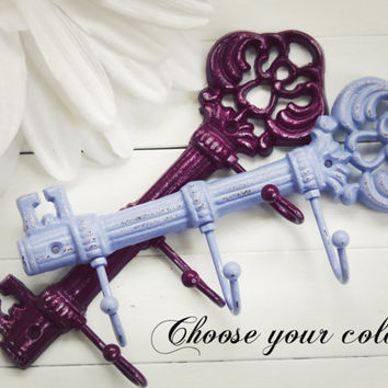 Wall Hook / Iron Key / Skeleton Key / Wall Key Holder / Key Rack / Decorative Key Hook / Shabby Chic Wall Hook / Housewarming Gift