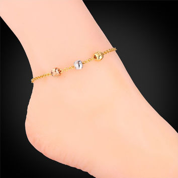 Gold Anklets For Women Foot Jewelry  Fashion Jewelry 18K Gold Plated Ball Cute Anklet Bracelet On A Leg Bracelet A946 A943