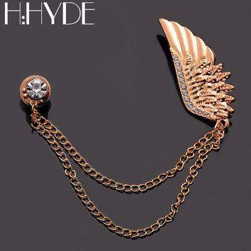 H:HYDE Vintage Style Shirt Collar Gold Chain Tassel Brooches Pins Gold Feather Crystal Clip Gothic Pin Brooch Fashion Jewelry
