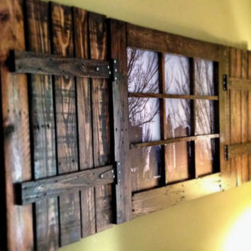 Custom Pallet Window Wall Hanging with Shutters- Columbus Skyline