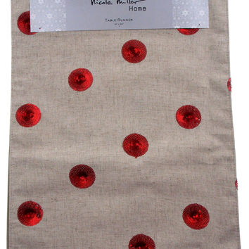 "Kitchen Table Runner Nicole Miller Home Tan & Red 16"" x 90"" Party Wedding Decor"
