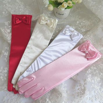 Girls long elastic bow gloves children's long satin dancing gloves kids long performance gloves