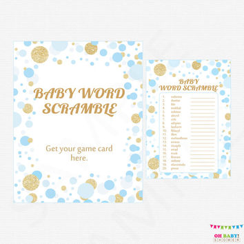 Blue and Gold Baby Shower Games - Baby Word Scramble Game - Boy Baby Shower Blue Gold Glitter Confetti Baby Shower Sign Printable CB0003-bg