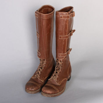 40s WWII Cavalry BOOTS / Military Army 1941 Tanker Boots, M 7.5 W 9.5