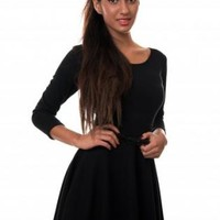 Black Long Sleeve Skater Dress with Black Skinny Belt