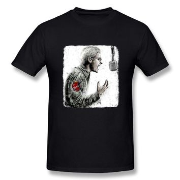 Singer Chester Rip Cool Poster Mens Cotton Short Sleeve Tshirts