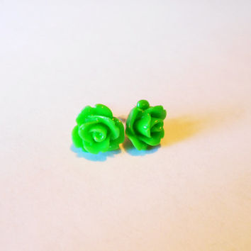 Green rose earrings - resin cabachon - wedding day bridesmaids flower girl gifts - small post earrings on stainless steel post - jewelry