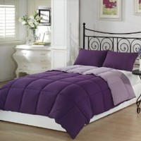 Chezmoi Collection 2-Piece Purple Lilac Super Soft Goose Down Alternative Reversible Comforter Set, Twin/Twin X-Large