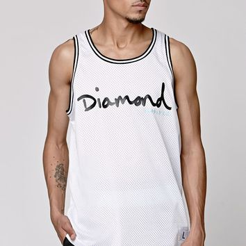 Diamond Supply Co Script Logo Mesh Tank Top - Mens Tee - White