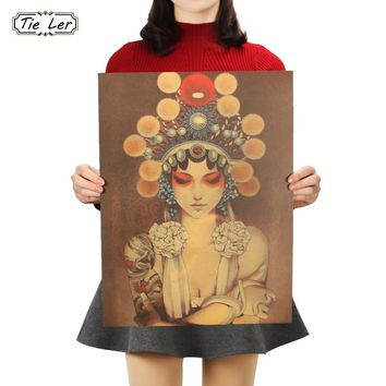 TIE LER Beijing Opera Mask Girl Picture Kraft Paper Poster Bar Cafe Decorative Painting Room Wall Stickers