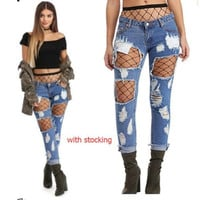 NEW WOMEN'S LEOPARD JEANS HOLES SKINNY LOW WAIST JEANS