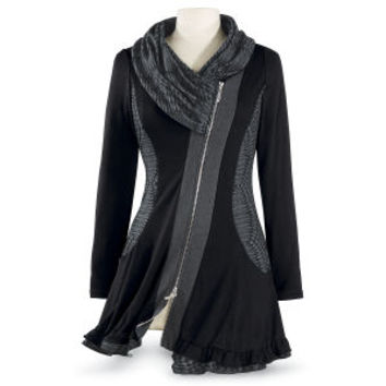 Black Shawl Cowl Tunic - Women's Clothing & Symbolic Jewelry – Sexy, Fantasy, Romantic Fashions