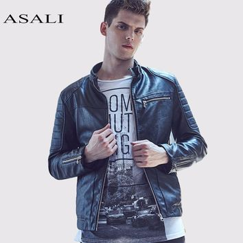 Motorcycle Leather Jackets Men Leather PU Autumn Club Faux Jacket Overcoats men coats