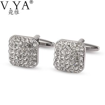 Luxury AAA Crystal CuffLinks for Shirts Cuff links Exquisite Button High Quality Copper 1 Pair New Fashion Cuff-links XK22