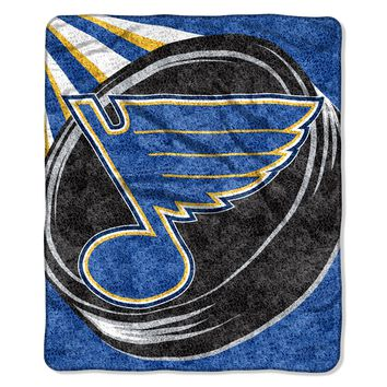 """Blues   OFFICIAL National Hockey League, """"Puck"""" 50""""x 60"""" Sherpa Throw  by The Northwest Company"""
