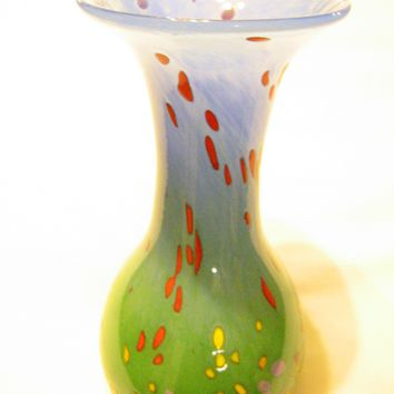 Modern Abstract Glass Vase Signed Mad 98 Hand Blown