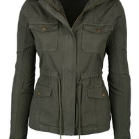 Womens Green Fashion Pocket Utility Jacket with Collar and Removable Hood