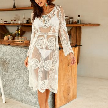 Mesh Embroidered Sheer Tunic Cover Up