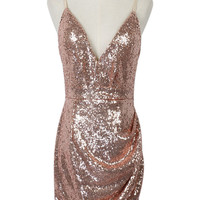 Yellow Sequined Spaghetti Strap Party Dress