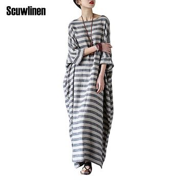SCUWLINEN 2017 Summer Dresses Vintage Striped Batwing Sleeve Robe Maxi Long Loose Plus Size Women Dress Casual Linen Dress S193