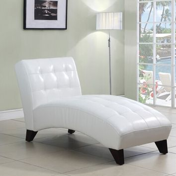 A.M.B. Furniture & Design :: Living room furniture :: Sofas and Sets :: Chaise loungers :: Anna white leather like vinyl armless chaise lounger with tufted back and seats