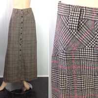 Vintage Houndstooth Plaid Maxi Skirt Button Front Long Skirt Wool Plaid Skirt Preppy Plaid Skirt 26 inch waist XS extra small