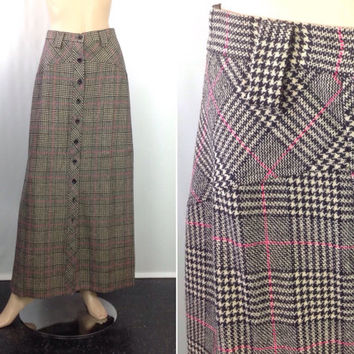 7528d1c2c5 Vintage Houndstooth Plaid Maxi Skirt Button Front Long Skirt Wool Plaid  Skirt Preppy P