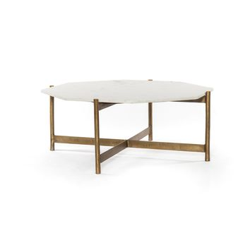 TANNER COFFEE TABLE-RAW BRASS FINISH