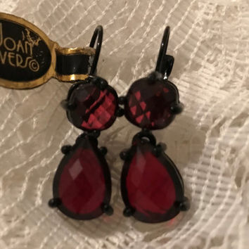Gorgeous Garnet Tone Tear Drop Joan Rivers Earrings With Antique Brass Setting - Like New  Never Used - C Code 2BEBBUY 20 PCT 20.00 Min