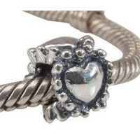 European Charm Sterling Silver Bead Hearts