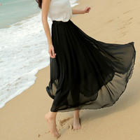 Original 16 Colors Amazing Chiffon Long Skirt 2015 New Fashion Bohemian Princess pleated Skirt High Quality Drop Shipping