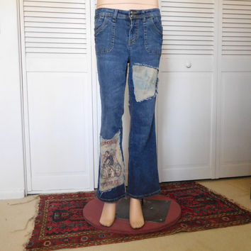 Hippie Jeans Upcycled Clothes Patched Jeans Hippie Clothes Size 10 Jeans American Hippie Indie Fashion