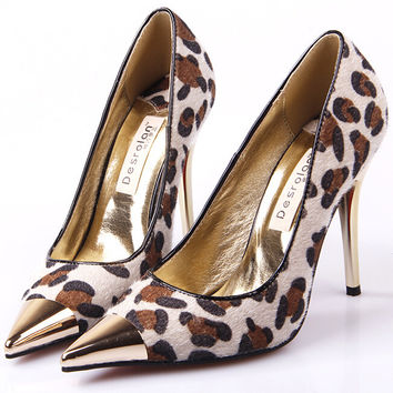 Women Beige Brown Red Bottom Leopard Print Shoes White Black Snake Skin Cap Pointed Toe Pumps Stiletto High Metal Heels Size 4