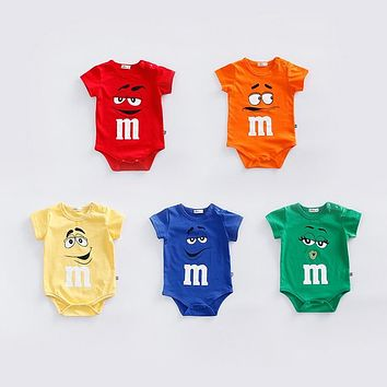 9d723e1b147c Newborn baby cotton rompers Summer short sleeve soft infant baby