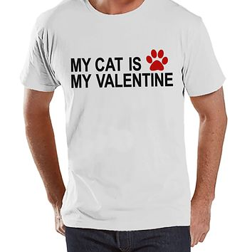 T-shirt's Valentine Shirt - Funny Cat Valentine Shirt - Mens Happy Valentines Day Shirt - Funny Anti Valentines Gift for Him - White T-shirt